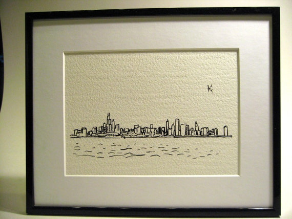 A5 Chicago Skyline Viewed from Lake Michigan Ink Drawing Print