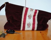 Vintage Velvet Burgundy With Floral Embroidered Detail - by Carpetbags of America