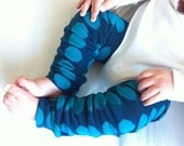 Blue with Teal Polka Dot Baby Legs / Leg Warmers / Arm Warmers