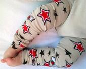 LAST PAIR Tan Pilot Baby Legs / Boy Red Star Leg Warmers