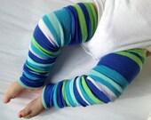 Spring Blue Stripe Baby Legs / Boy Leg Warmers