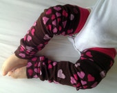 Brown with Pink Hearts Valetine's Day Leg Warmers/ Baby Legs