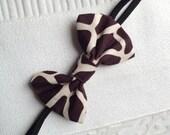 Giraffe -- Baby Girl-- Headband Bow--Brown Cow