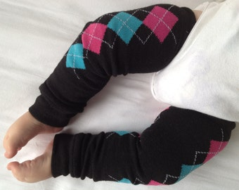 Blue Pink Diamond Argyle Baby Legs / Leg Warmers- Free Domestic Shipping