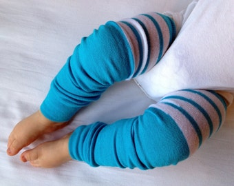 Blue Turquoise Football Stripe Baby Legs / Leg Warmers / Arm Warmers- Free Domestic Shipping