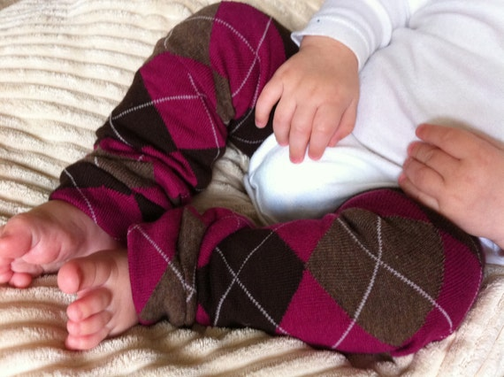 Pink Brown Argyle  Baby Legs / Leg Warmers / Arm Warmers