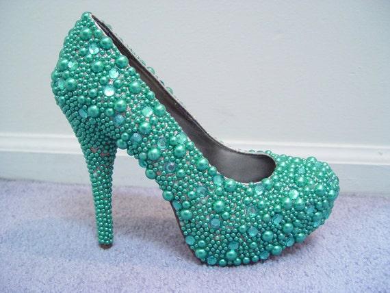 Hand Made Womens Christian Louboutin Style Green Rhinestone High Heel Shoes