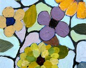 """Abstract floral painting small original landscape acrylic on canvas """"Petite Flowers 2"""""""