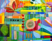 """Large abstract painting on canvas, 24 x 36, """"Garden Symphony"""", Original painting"""