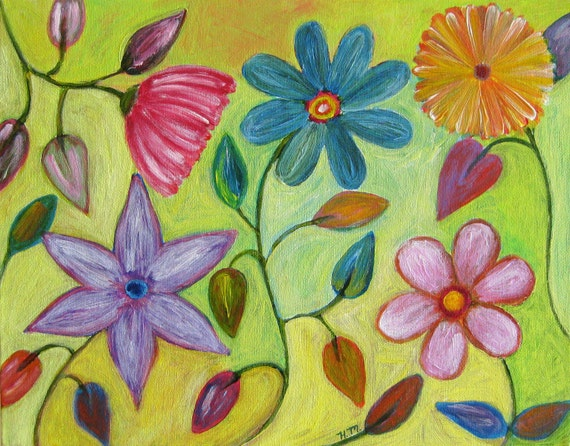 "Original oil painting, ""Sunshine Garden"", 11 x 14 happy and bright"