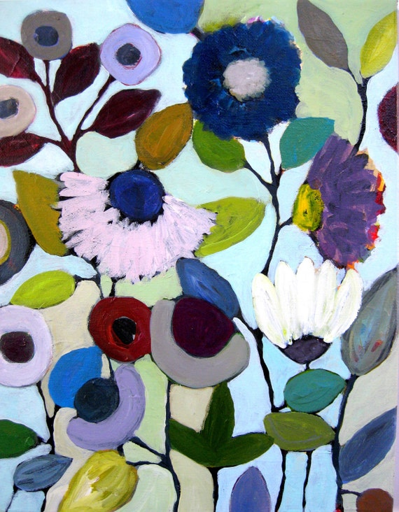 """Original Painting on Canvas, Floral Art  """"Garden of Kindness"""" by Heather Martin Acrylic 11 x 14"""