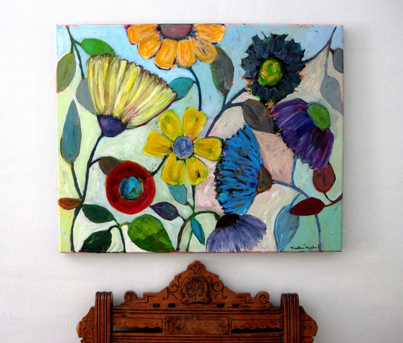 "Original Painting on Canvas - Fresh Vibrant Floral Art ""Cottage Garden"" 16 x 20 by Heather Martin"