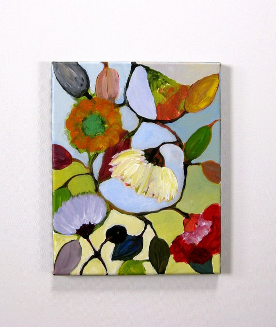"Original painting, abstract painting, ""Secret Garden"",  8 x 10 floral painting"