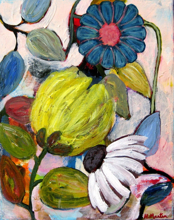 "Floral landscape painting, Abstract painting, Original painting, Whimsical painting, ""Garden of Grace"", 8 x 10 acrylic on canvas"