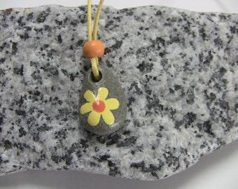Kids Necklace - Stone Necklace - Beach Stone Necklace - Handpainted kids necklace