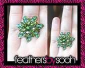 RESERVED for Jenn - Green Rhinestone Flower Ring