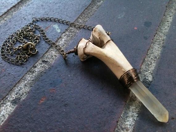 REAL coyote femur and musical quartz necklace