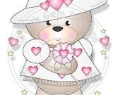 Digital (Digi) Love Heart Teddy Stamp