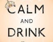 Digital (Digi) Keep Calm and Drink Wine  Stamp