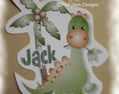 Personalised  Heat Transfer (iron on)   Dinosaur  for Childrens  T- Shirts etc