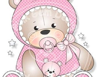 Digital (Digi) Baby Girl Teddy Stamp