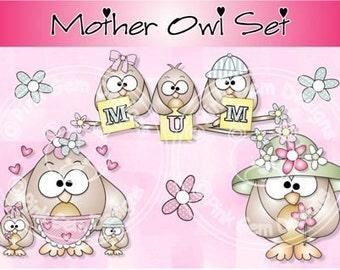Digital (Digi stamps) Mother Owl  Set (Mum Version)