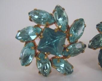 Vintage Earrings, Czecho, Aquamarine, Crystal, Rhinestone, Glass, Gold Setting,  Elegant, Sparkly, Statement Jewelry, Screw Back