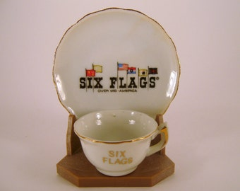 Six Flags, Mid-America, Small, Souvenir, Cup, Saucer,  Stand, Vacation, Memorabilia, Family Road Trip
