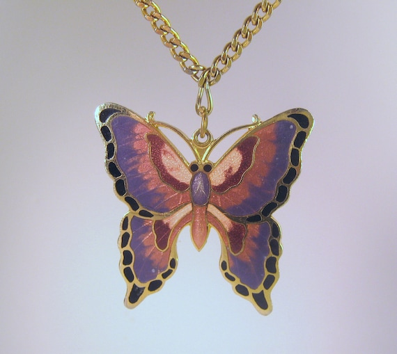 Butterfly Cloisonne Necklace Vintage Monet