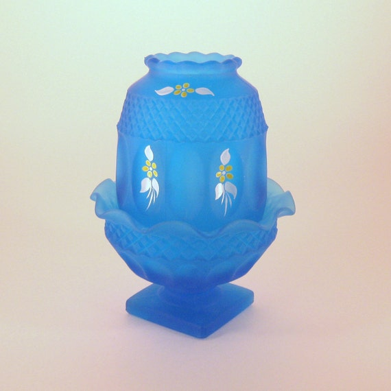 Fairy Lamp- Westmoreland Blue Frosted Mist  Glass , Handpainted