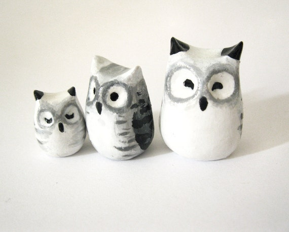Owl  Family- Clay Animal Totem - Winter White Snowy Owls - Set of 3 - Shades of White, Grey & Black - OOAK