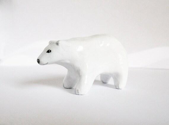 Polar Bear Spirit Animal Totem - Clay Animal Miniature Sculpture Figurine - Tobu the White Bear - OOAK