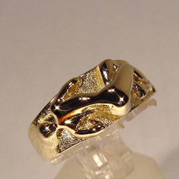 18K Gold Over Sterling Silver Art Nouveau Ring