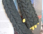 Cable Knit Fingerless Gloves Long Hand Knitted Gloves Arm Warmers Wrist Warmer Dark Grey Wool --- Ready to Ship