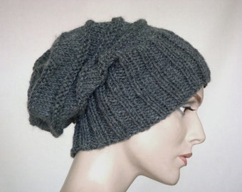 Knit Hat Hand Knit Hat Slouch Hat For Women or Men Dark Grey Wool Hat Fall Fashion Winter Fashion --- Ready to Ship
