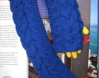 Cable Knit Fingerless Gloves Long Hand Knitted Gloves Arm Warmers Wrist Warmers Royal Blue --- Ready to Ship