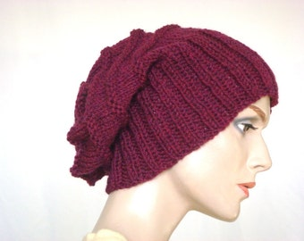 Hand Knit Hat Slouch Hat For Women in Plum Heather Wool Hat Fall Fashion Winter Fashion --- Ready to Ship