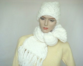 Knit Scarf Hand Knit Hat Set Chunky Knit Scarf Slouch Hat Knit Holiday Gift for Him or Her White---Ready to Ship