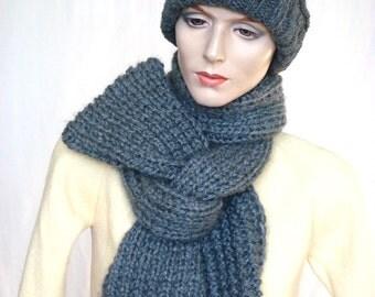 Long Hand Knit Scarf Chunky Knit Scarf  Knit NeckWarmer in Grey --- Ready to Ship