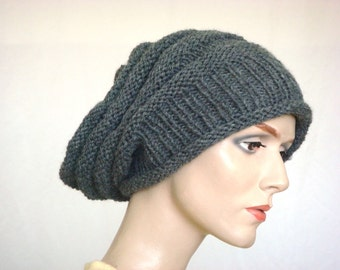 Hand Knit Hat Slouch Hat For Women or Men Dark Grey Wool Hat Fall Fashion Winter Fashion --- Ready to Ship