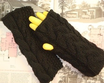 Cable Knit Fingerless Gloves Hand Knitted Gloves  Arm Warmers Wrist Warmer Black Wool --- Ready to Ship