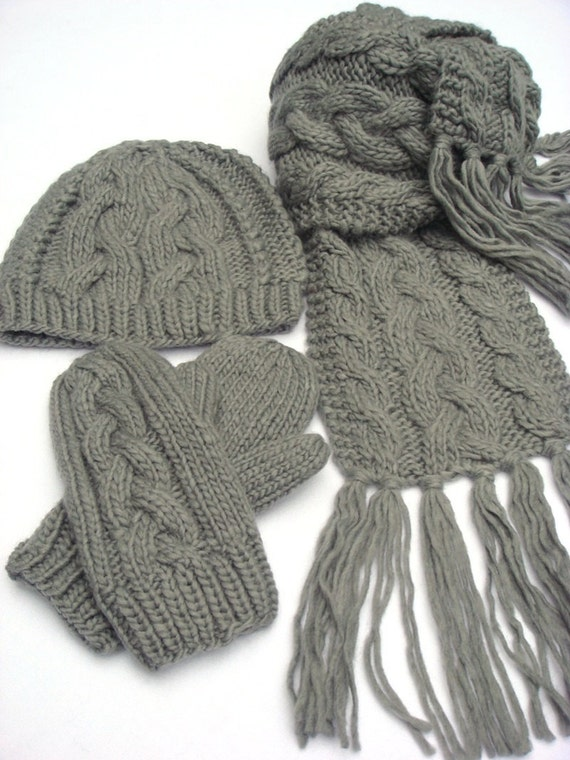 Set: Hand Knit Scarf Cable Knit Scarf Knit Hat Knit Gloves
