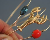 Gold lobster Bangles, Nautical Jewelry, Marine Life Jewelry, Ocean Bracelet, Beach jewelry, Brass Lobster, Fish, Coral stone Bangle, Montana