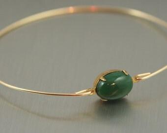Single stone Hunter green gold modern  bangle