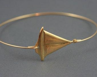 Sailboat silver gold bangle, Nautical Sailing Bracelet,Sailor Jewelry,Marine Bangle Bracelet, Boating Jewelry, Gold Boat, Silver Boat