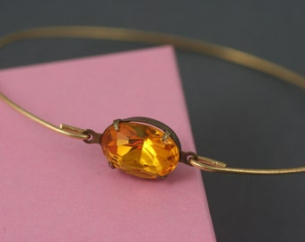 Single gold crystal Bangle bracelet