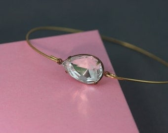 Single crystal tear Bangle bracelet