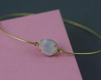 Vintage Opal glass gold Bangle bracelet