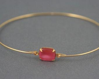Vintage pink opal glass gold Bangle bracelet