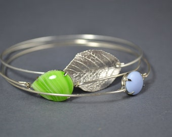 Single leaf bangle bracelet set